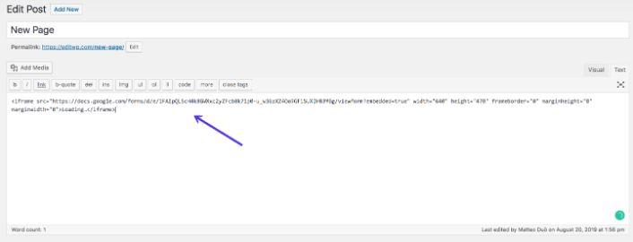 aggiungere codice Google Forms